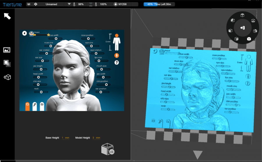 UpStudio software - lithograph functionality, showing Makers Empire software
