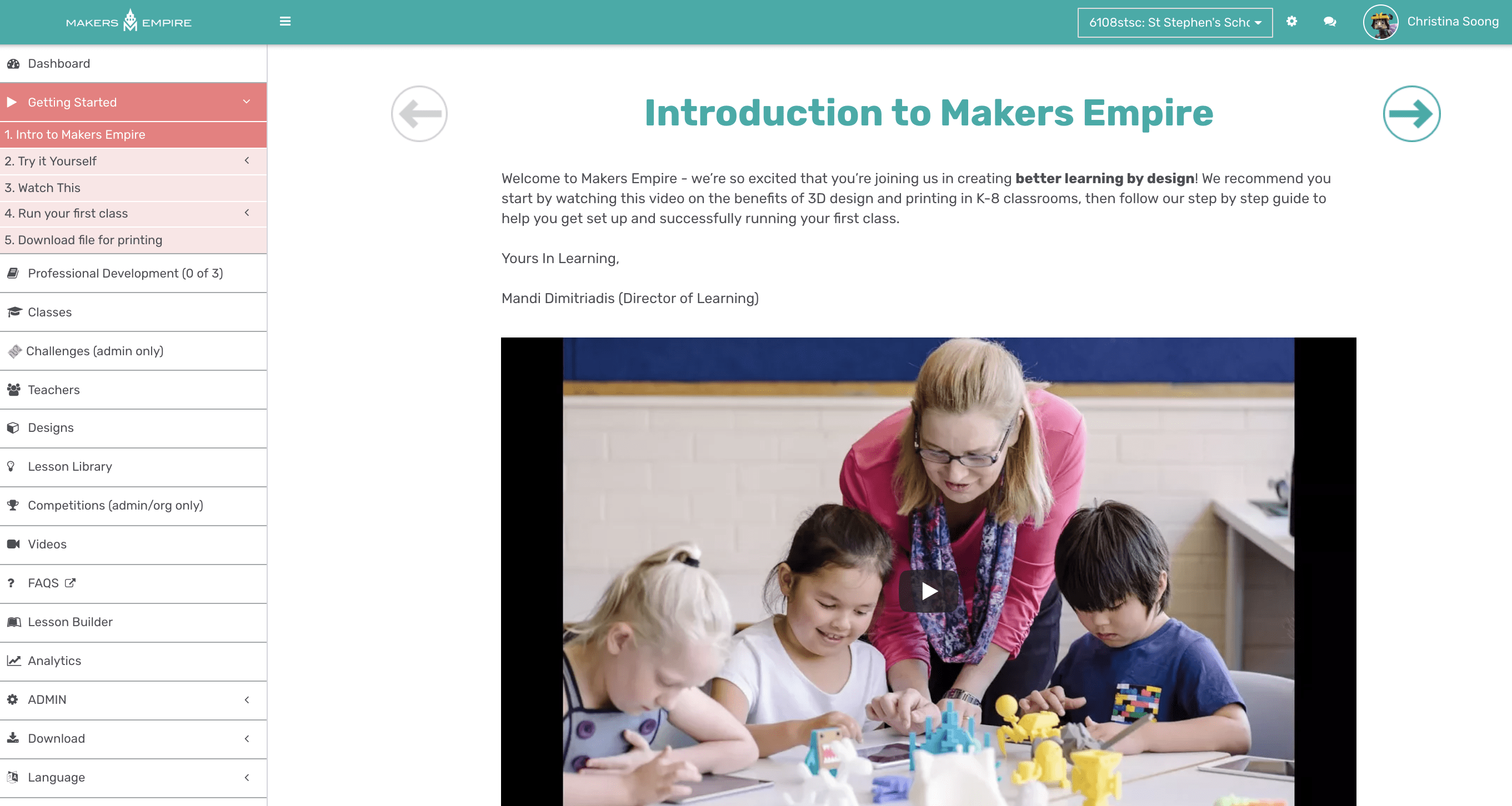 Makers Empire Teacher's Dashboard