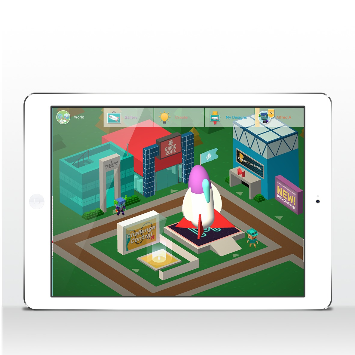 Maker Empire 3D app on white iPad