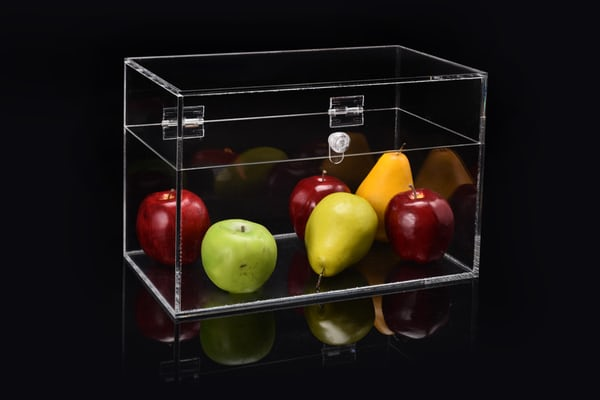 mixed fruit in a clear box