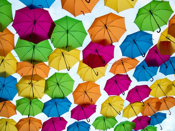 many coloured umbrellas