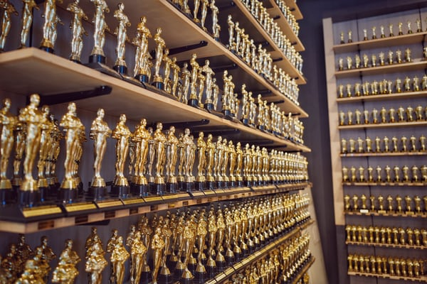a wall full of trophies