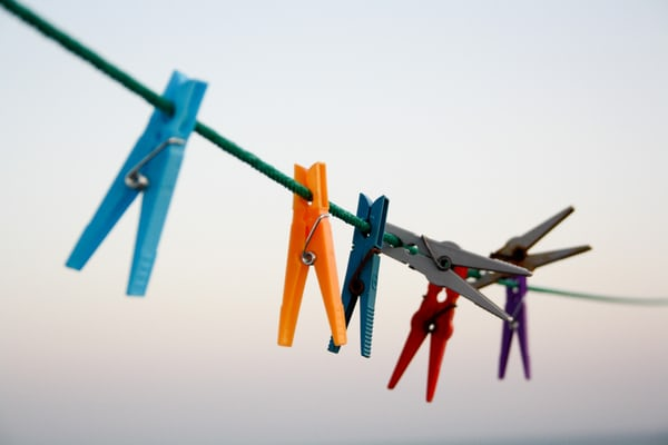 pegs on a clothes line