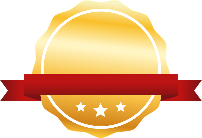 illustration of a blank badge with ribbon