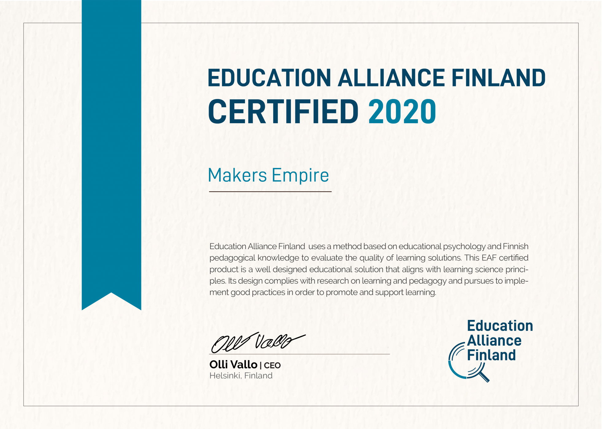 Makers Empire accredited by Education Alliance Finland for pedagogical quality