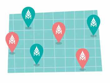 Illustration of drop pins on a map representing use of Makers Empire 3D design software across a school district