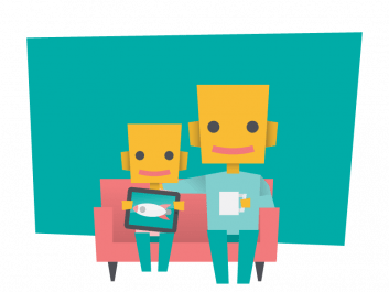 Illustration of parent and child at home using Makers Empire 3D design app