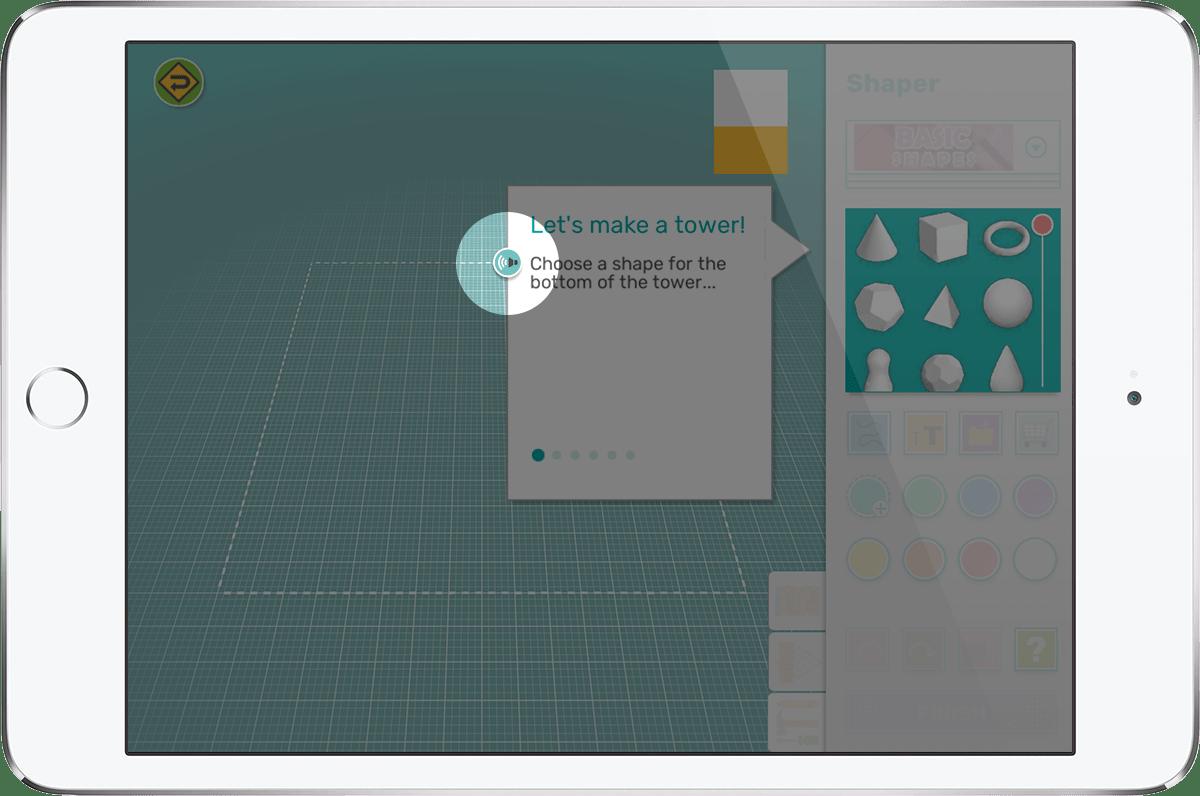 iPad showing Makers Empire 3D design app speech feature
