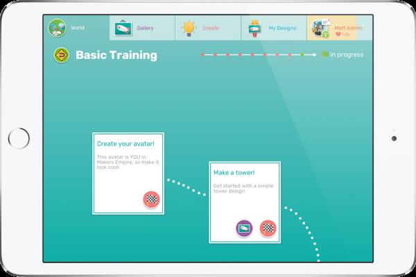 iPad showing Makers Empire 3D design app basic training tutorials