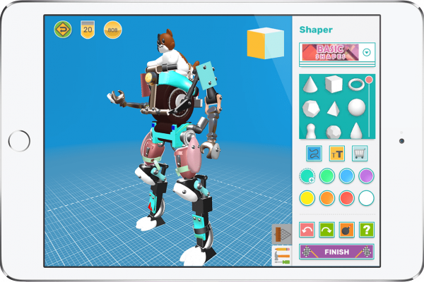 iPad with a 3D design robot mech suit designed in Makers Empire 3D
